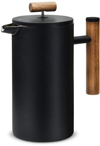 Lambda Coffee® French Press aus Edelstahl und Holz | 0,6 Liter (3 Tassen, klein) | für den perfekten Kaffee...