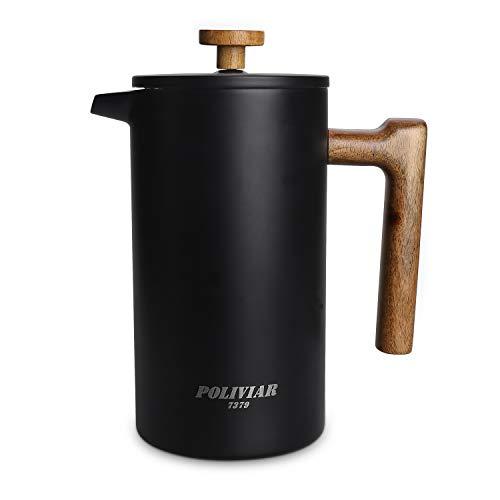 Poliviar French Press Kaffeebereiter 1 Liter/8 Tassen, Doppelwandige Isolierte Kaffeekanne und Teebereiter,...