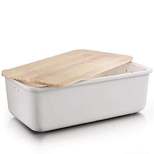Destyx® Bambus Brotkasten mit Schneidebrett aus Bambus beige zur Brotaufbewahrung - Ökologisch aus Holz mit...