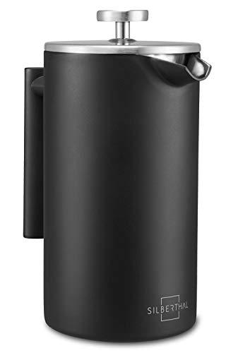 SILBERTHAL French Press Kaffeebereiter 1 Liter – Doppelwandig Thermo-isolierte Kaffeepresse - Edelstahl...