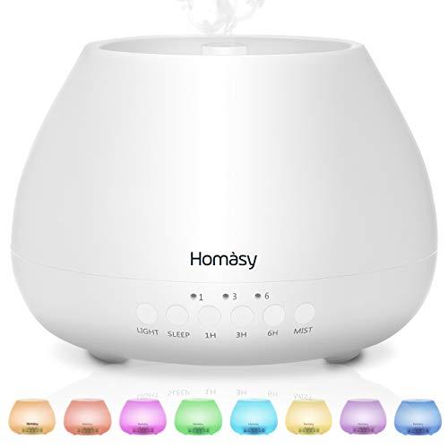 500ml Diffusor Aromatherapie, Homasy 21dB Ultra Leise Aroma Diffuser mit 8 Farben LED, BPA-Frei Aroma Diffuser...