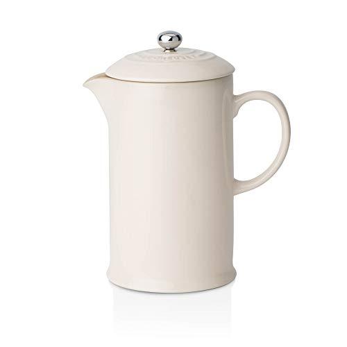 Le Creuset Kaffee-Bereiter/French Press mit Edelstahl-Presseinsatz, 800 ml, Steinzeug, Creme