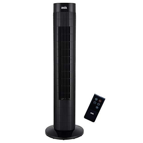 ANSIO Oszillierender Turmventilator mit Fernsteuerung- Säulenventilator - 75CM Standventilator - Ventilator -...