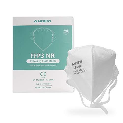 20X ANNEW FFP3 Schutzmaske Mund Nasen Schutzmaske Atemschutzmaske Gesichtmaske, 5-Lagen-Atemschutzmaske,...