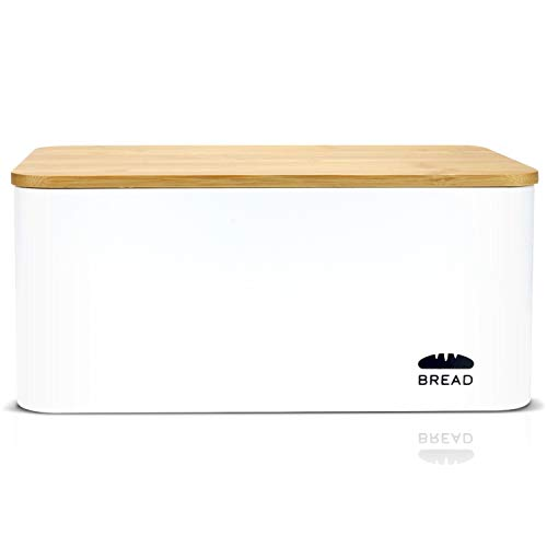 Granrosi Brotkasten mit Bambus Deckel - Geräumige Metall Brotbox mit Schneidebrett hält Brot und Brötchen...