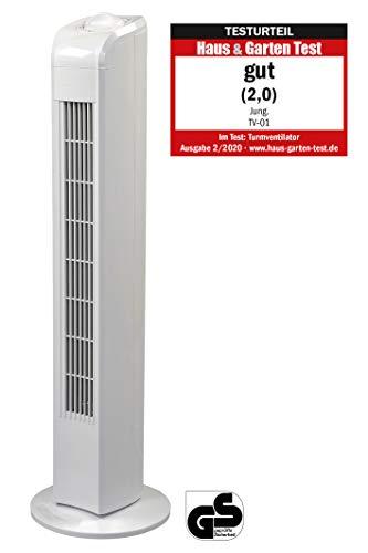 JUNG TVE21 Ventilator 76cm weiss - TÜV geprüft, Leise Turm-lüfter Lautstärke max 48dbA, Turmventilator...