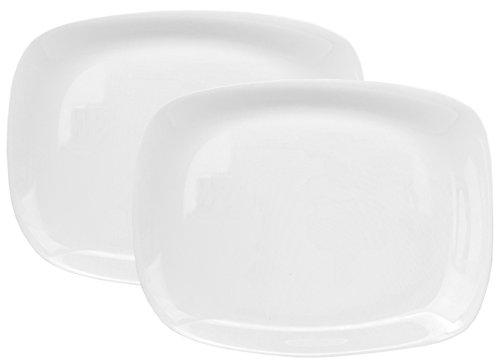Bormioli Rocco Parma 2er Set Servierplatte, 325 x 240 x 23 mm, Servierteller aus weißem Opalglas, rechteckig,...