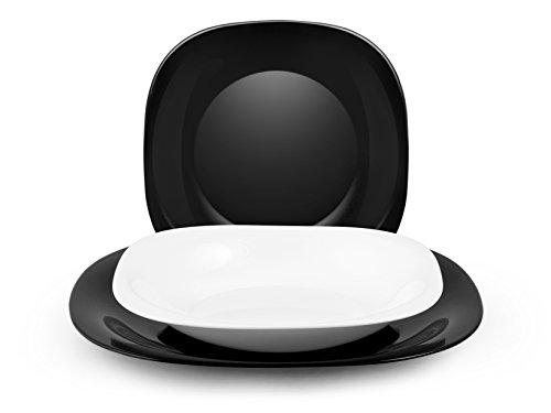 H&H Black & White Tafelservice 18-teilig, Opalglas, weiß/schwarz