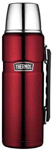 THERMOS 4003.248.120 Thermosflasche Stainless King, Edelstahl Cranberryk 1,2 l, Drehverschluss, 24 Stunden...