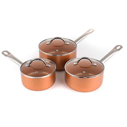 SALTER BW06539AR 3-teiliges Kochtopf-Set aus Kupfer, keramikbeschichtet, Copper, Topf gesetzt