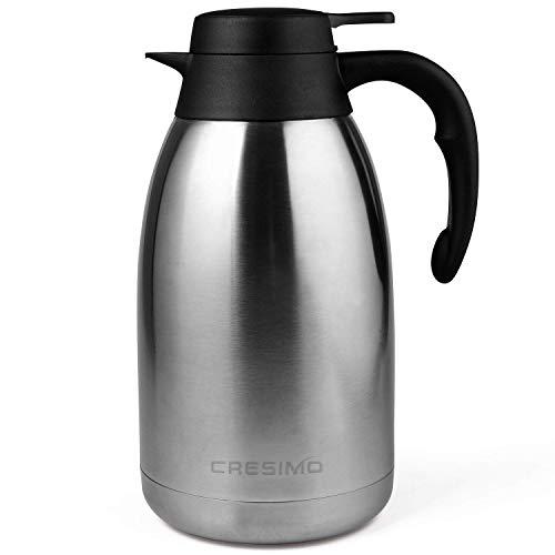 Cresimo 2 Liter Edelstahl Thermoskanne, Teekanne, Kaffeekanne, und Isolierkanne mit 12 Stunden...