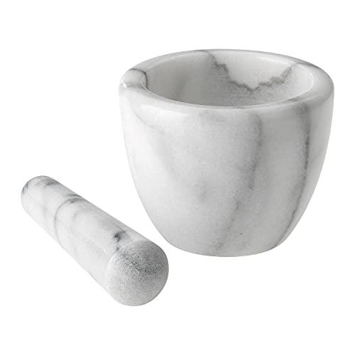 Westmark Mörser mit Stößel aus Marmor, Hoch, Innendurchmesser: ca. 7,5 cm, Gourmet, Weiß/Grau, 69592260