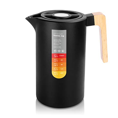 Yuanj Thermoskanne 1L, Stainless Steel 304, Vakuum Kaffeekanne mit Holzgriff, Edelstahl Doppelwandig...
