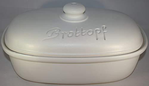Töpferei Seifert Brottopf 30 cm Weiss matt Oval, Steinzeug Westerwald