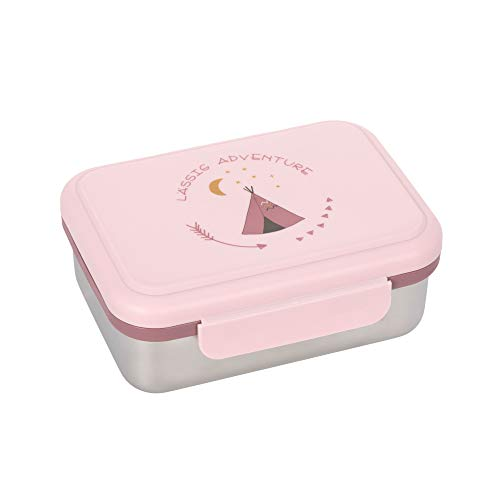 LÄSSIG Kinder Brotdose Edelstahl Lunchbox Frühstücksbox nachhaltig Kindergarten Schule/Adventure Tipi