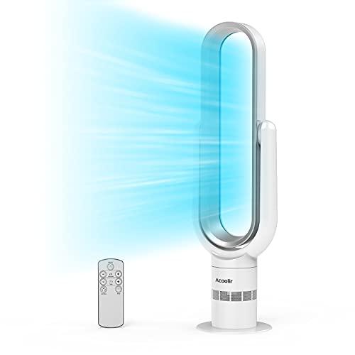Ventilator Leise, Turmventilator mit Fernbedienung, Standventilator Rotorlos mit 9 Stunden Timer,...