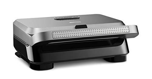 De'Longhi MultiGrill Easy SW12BC.S, Sandwichmaker & Waffeleisen, vertiefte Sandwichplatten, auslaufsichere...