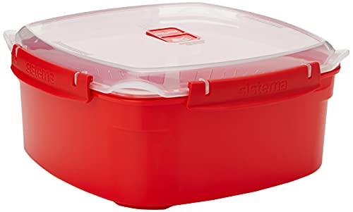 Sistema Microwave Dampfgarer, groß mit herausnehmbarem Korb, 3,2l, rot/transparent