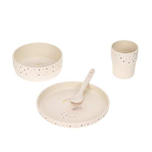LÄSSIG Kinder Geschirr Set Teller Schüssel Becher Löffel Kindergeschirr BPA-frei/Dish Set Glama Lama blue