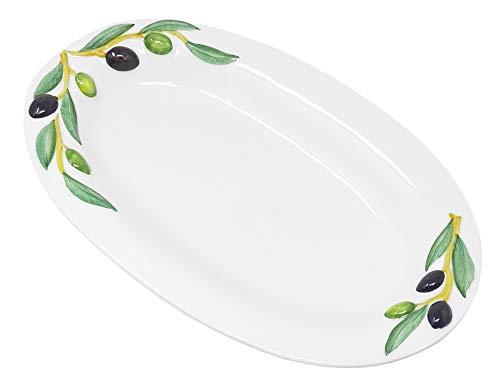 Lashuma Handgemachte Ovale Servierplatte aus Italienischer Keramik im Olivendesign, Servierteller 32 x 19 cm