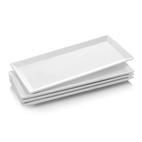 Dowan Teller Rechteckig, Servierplatten Keramik, Rechteckige Teller aus Porzellan, Speiseteller für Fleisch,...
