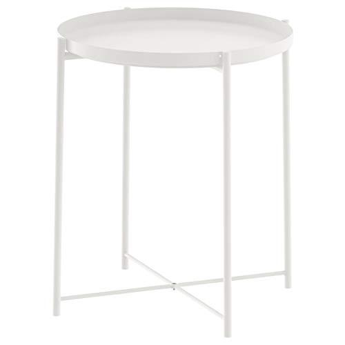 Unbekannt Ikea Beistelltisch Gladom Metall-Tisch mit Abnehmbaren Tablett - weiß - 52,5cm Hoch - 44,5cm...