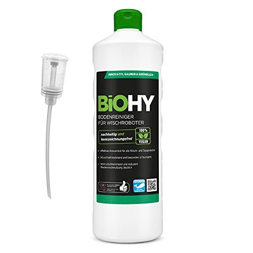 BiOHY Bodenreiniger für Wischroboter (1l Flasche) + Dosierer | Konzentrat für alle Wisch & Saugroboter mit...