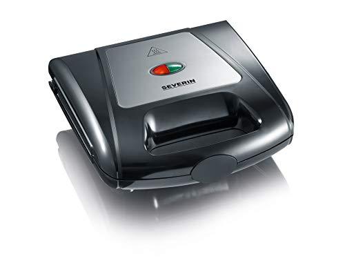 SEVERIN Sandwich-Toaster, 3-in-1 Funktion (Sandwich-, Grill-, Waffelplatte), 1.000 W, SA 2968, Schwarz/Chrom