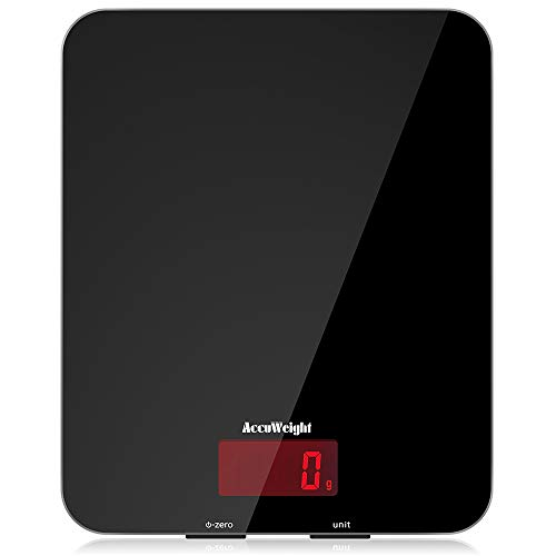 ACCUWEIGHT Digitale Küchenwaage Elektronische Waage Digitalwaage aus Sicherheitsglas mit LCD Display, 5kg x...
