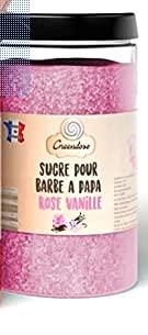 Greendoso-Zuckerwatte Zucker, Aromazucker 1 kg Himbeere für Zuckerwattemaschine + 50 Stäbchen (30 cm) + 1...
