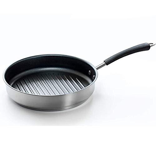 Coolinato Pfanne 26cm Edelstahl Grillpfanne beschichtet für Gas Ceran Elektro Induktion und Backofen,...