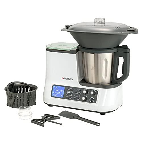 Küchenmaschine mit Kochfunktion, Waage, Dampfgaraufsatz, Garkorb WLAN
