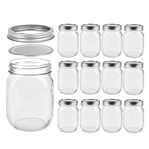 Luvan12er Set Einmachgläser 475ml Regular Mouth Glasgefäßen mit silbernen Metallverschlüssen, BPA-frei und...