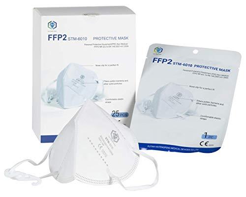 STM Zertifizierte FFP2 Atemschutzmaske Staubmaske Atemmaske 4-lagige Staubschutzmaske Mundschutzmaske 25...
