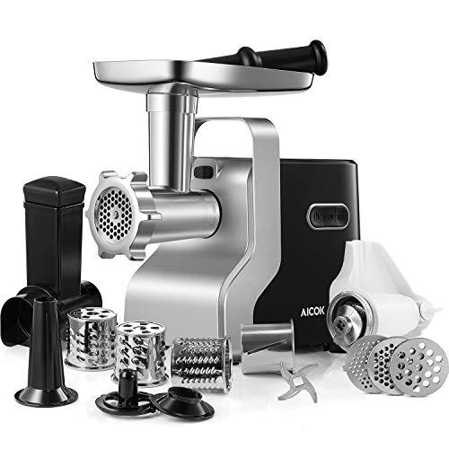 Fleischwolf Elektrisch, AICOK 5-IN-1 Multi Küchenmaschine, Wurstmaschine, Gemueseschneider, Tomatenpresse, 3...