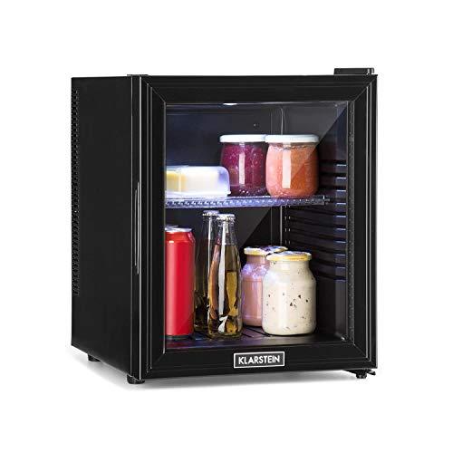 Klarstein Brooklyn - Kühlschrank mit Glastür - Mini-Kühlschrank, Mini-Bar, 0 dB, 12-15 °C,...