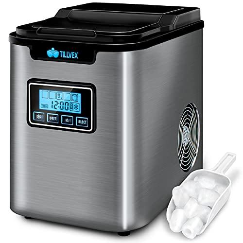 tillvex Eiswürfelmaschine Edelstahl 12 kg - 24 h   Eiswürfelbereiter mit Timer und 2,2 Liter Wassertank  ...