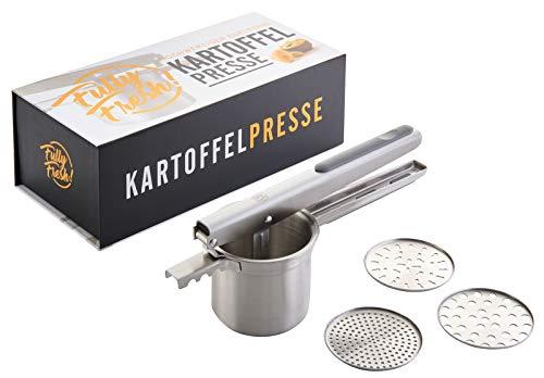 Fully Fresh! Premium Kartoffelpresse aus Edelstahl, rostfrei & spülmaschinenfest, Obst-/Spätzlepresse...