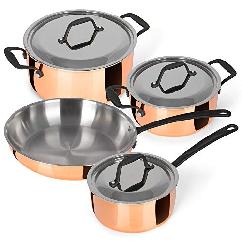 Chefkoch® Kochtopfset verkupfert inkl. Bratpfanne, 4er-Set   DREI Töpfe, eine Bratpfanne   dreilagiger...