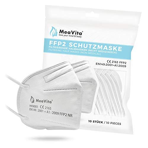 MeaVita FFP2 Maske, EU CE Zertifizierte Mund- und Nasenschutz nach EN149:2001+A1:2009, Atemschutz hohe...