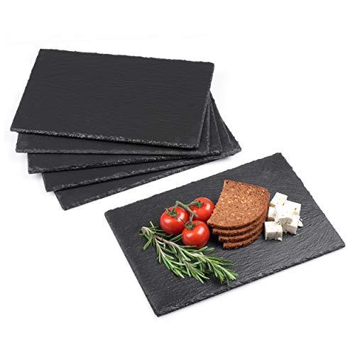 Minuma® Schieferplatten Set 6-teilig | 30 x 20 cm aus Naturgestein mit Moosgummi-Füßen zum Schutz von...