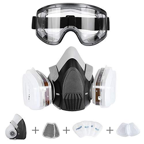 FIXKIT Halb Gesicht Abdeckung wiederverwendbare-Gaz Maske mit austauschbaren Filtern gegen Chemikalien und...