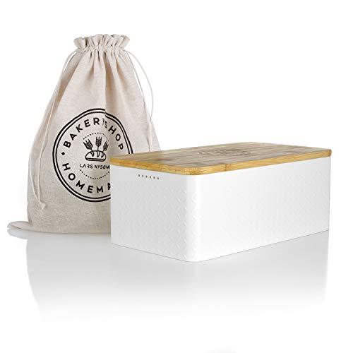 LARS NYSØM Brotkasten I Brotdose in Weiß mit inkludiertem Brotsack aus Leinen für langanhaltende Frische I...