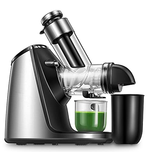 Slow Juicer, Entsafter BPA-Frei 200W mit 76MM großer Einfüllöffnung, Keramikschnecke, Zubehör für...