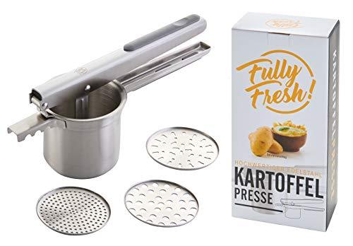 Fully Fresh! | Premium Spätzle-/Kartoffelpresse aus Edelstahl (3 Siebeinsätze zum Einsetzen u.a. für...