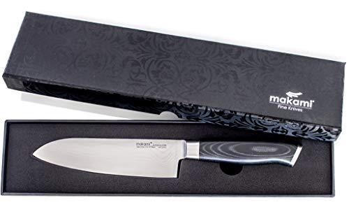 makami Premium Santokumesser aus japanischem Damaststahl VG-10 - asiatisches Küchenmesser und Profi...