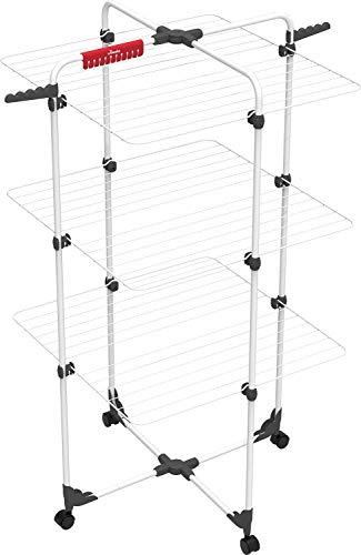 Vileda Mixer 3 Wäscheständer, 30 m Leinenlänge, 3 Ebenen für 3 Waschladungen, Flex-Gelenk, rollbar, Stahl,...