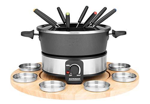 GASTROBACK 42566 Fondue Set, praktischer Drehteller mit 8 Edelstahl-Saucenbehälter Stufenlos regelbar von...