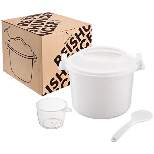 REISHUNGER Mikrowellen Reiskocher (1,2 l), einfach und schnell Reis kochen - ideal auch für Quinoa, Couscous,...