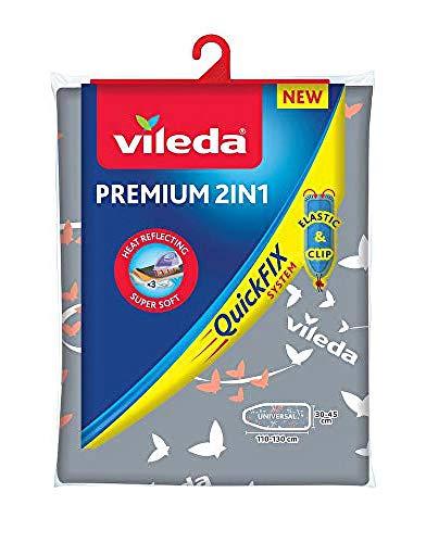 Vileda Premium 2in1 Bügelbrettbezug, silber-grau, 30–45 cm x 110–130 cm
